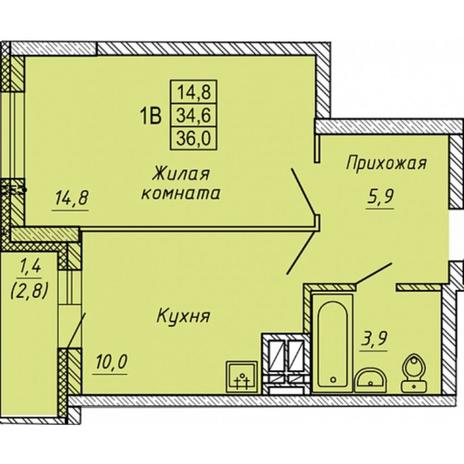 Вариант №5657, 1-комнатная квартира в жилом комплексе