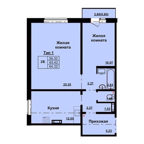 Вариант №3164, 2-комнатная квартира в жилом комплексе