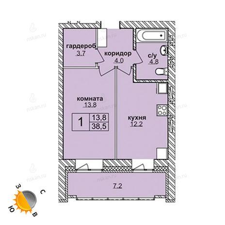 Вариант №1580, 1-комнатная квартира в жилом комплексе
