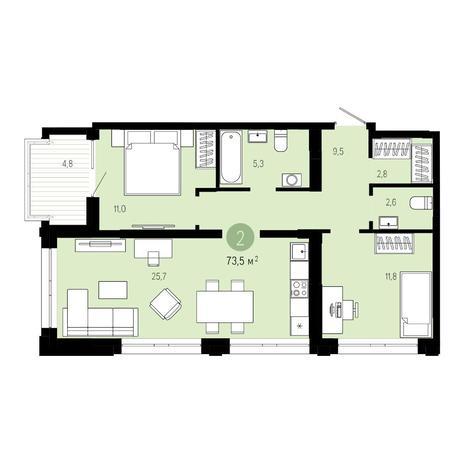 Вариант №4842, 3-комнатная квартира в жилом комплексе