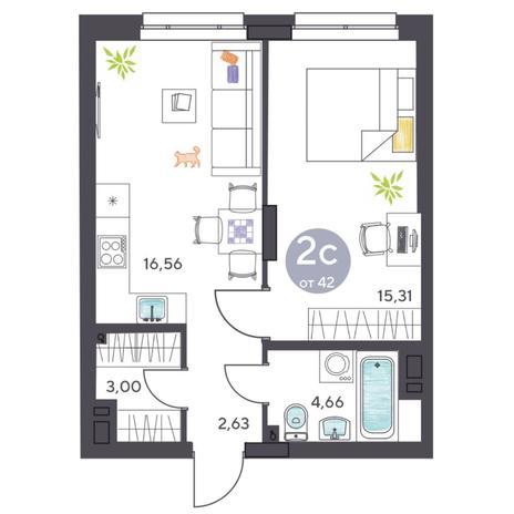 Вариант №5411, 2-комнатная квартира в жилом комплексе