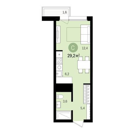 Вариант №6560, 1-комнатная квартира в жилом комплексе Ясный берег