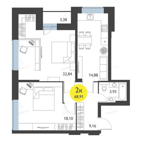 Вариант №2775, 2-комнатная квартира в жилом комплексе