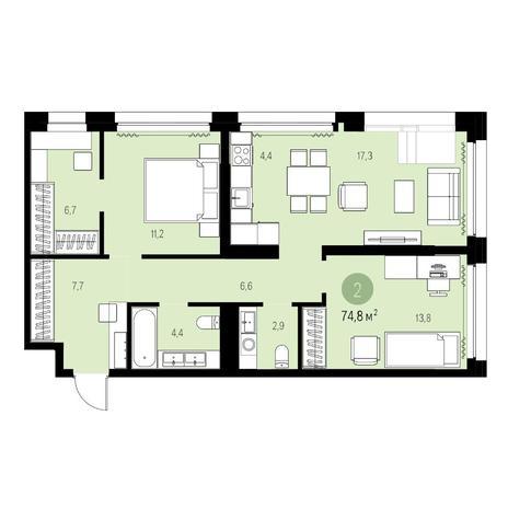 Вариант №5549, 3-комнатная квартира в жилом комплексе
