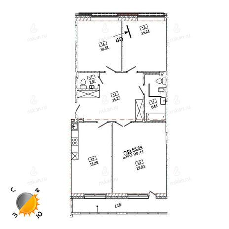 Вариант №969, 4-комнатная квартира в жилом комплексе Римский квартал