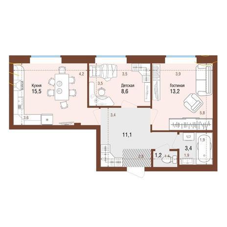 Вариант №4217, 2-комнатная квартира в жилом комплексе Аквамарин