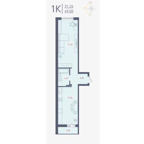 Вариант №4869, 1-комнатная квартира в жилом комплексе Радуга Сибири