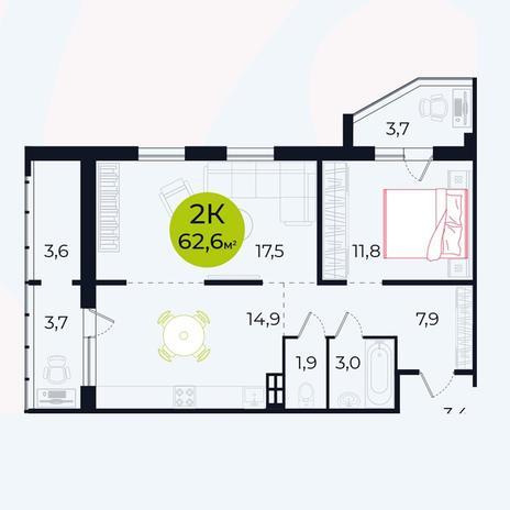 Вариант №4103, 2-комнатная квартира в жилом комплексе