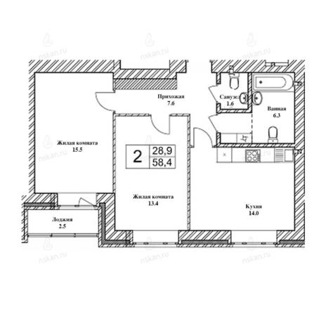 Вариант №2474, 3-комнатная квартира в жилом комплексе