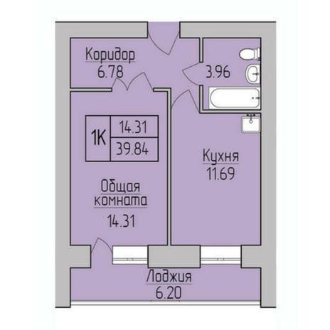 Вариант №5379, 1-комнатная квартира в жилом комплексе