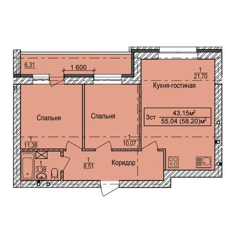 Вариант №5398, 3-комнатная квартира в жилом комплексе