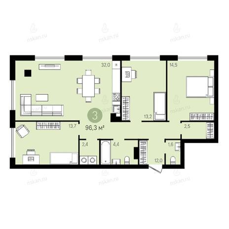 Вариант №2644, 4-комнатная квартира в жилом комплексе Квартал на Никитина