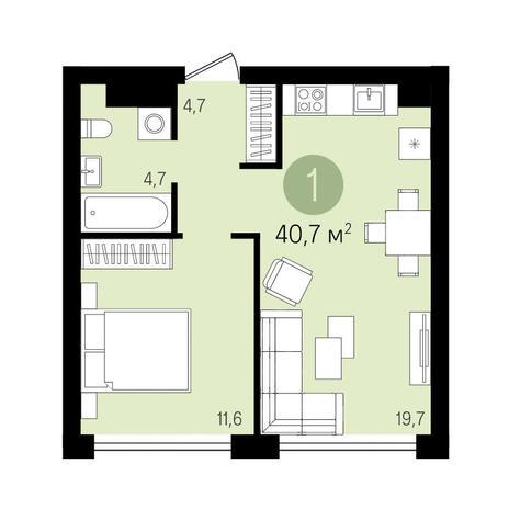 Вариант №3298, 1-комнатная квартира в жилом комплексе Европейский Берег
