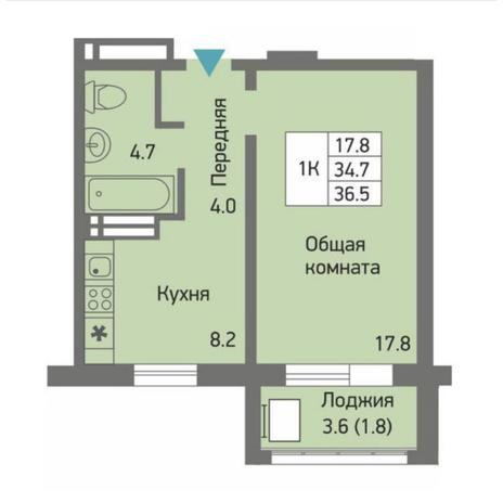 Вариант №4500, 1-комнатная квартира в жилом комплексе Акварельный 3.0