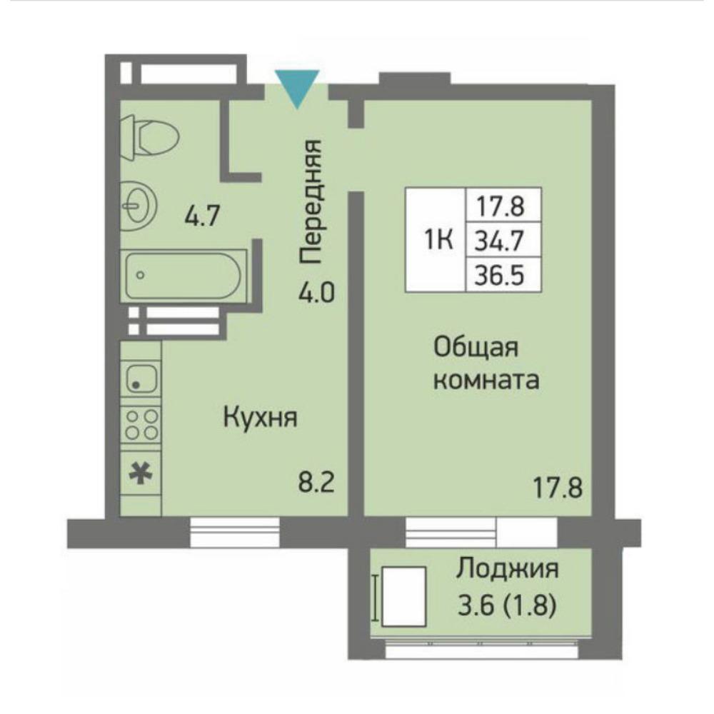 Планировка 1-комнатная площадью 36.5 м<sup>2</sup> в ЖК Акварельный 3.0