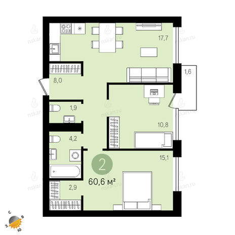 Вариант №2413, 3-комнатная квартира в жилом комплексе Европейский Берег