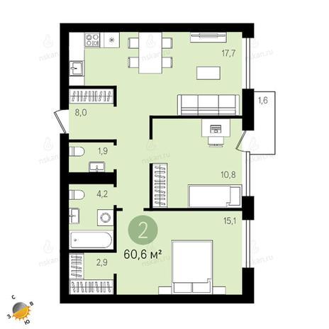 Вариант №2413, 3-комнатная квартира в жилом комплексе