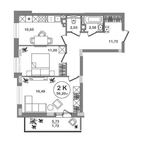 Вариант №5207, 2-комнатная квартира в жилом комплексе Новые Снегири