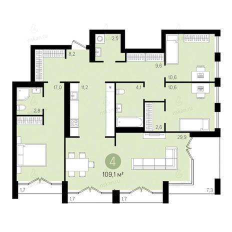 Вариант №2791, 4-комнатная квартира в жилом комплексе Европейский Берег