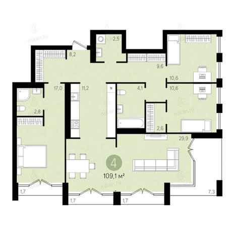 Вариант №2791, 4-комнатная квартира в жилом комплексе