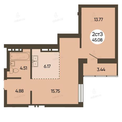 Вариант №2493, 2-комнатная квартира в жилом комплексе История