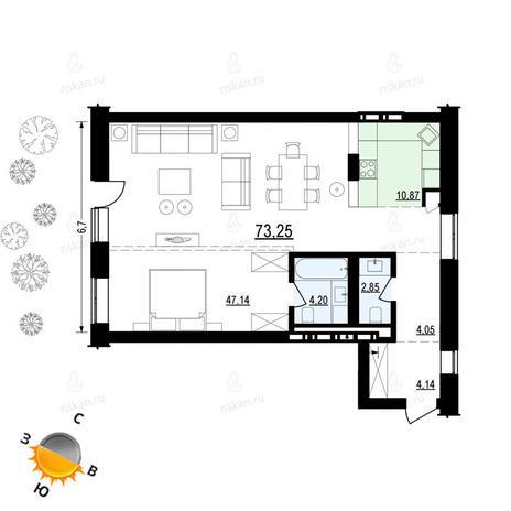 Вариант №882, 2-комнатная квартира в жилом комплексе Жуковка