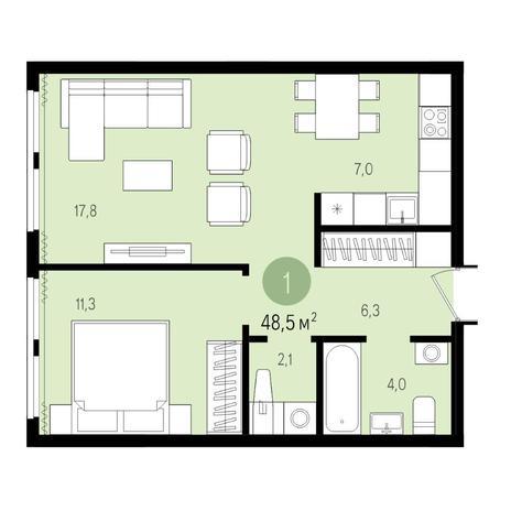 Вариант №4984, 2-комнатная квартира в жилом комплексе Пшеница