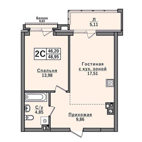 Вариант №2925, 2-комнатная квартира в жилом комплексе Европейский Берег