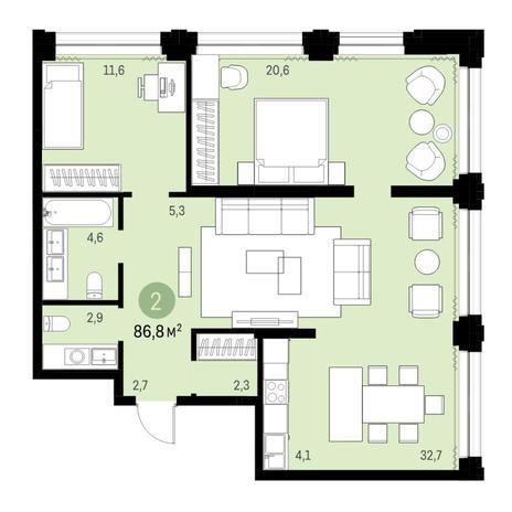 Вариант №6129, 3-комнатная квартира в жилом комплексе
