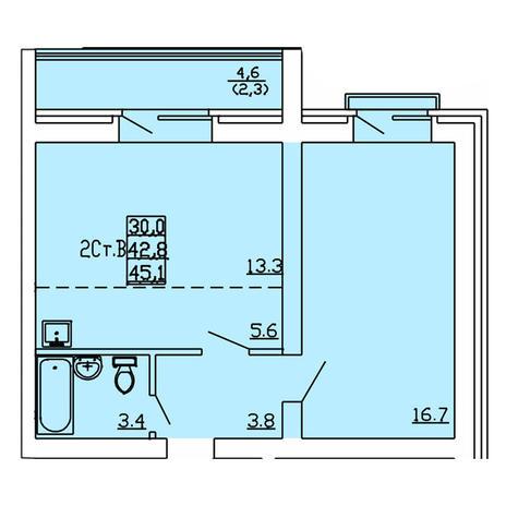 Вариант №4010, 2-комнатная квартира в жилом комплексе