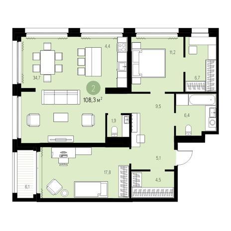Вариант №5457, 3-комнатная квартира в жилом комплексе Нобель