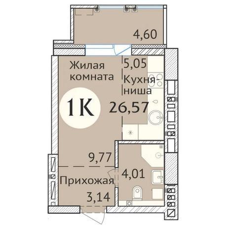 Вариант №6426, 1-комнатная квартира в жилом комплексе Инфинити