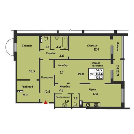 Вариант №3685, 3-комнатная квартира в жилом комплексе