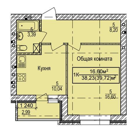 Вариант №5388, 1-комнатная квартира в жилом комплексе