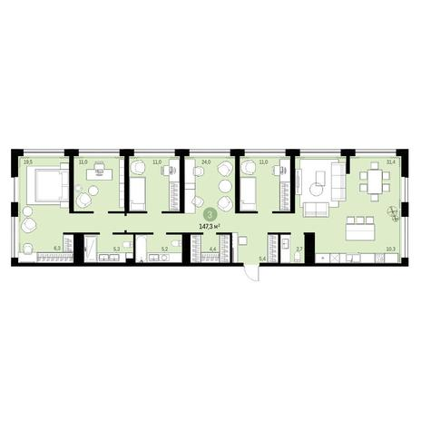 Вариант №6315, 6-комнатная квартира в жилом комплексе