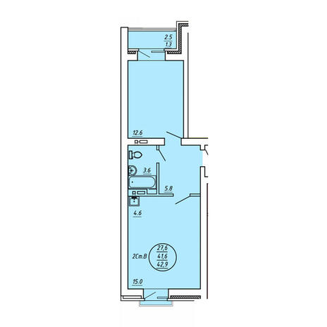 Вариант №3602, 2-комнатная квартира в жилом комплексе
