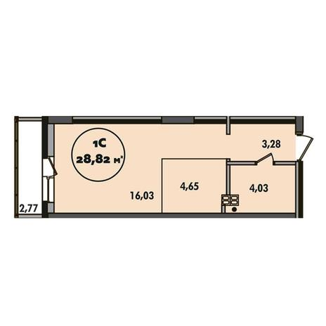 Вариант №5505, 1-комнатная квартира в жилом комплексе