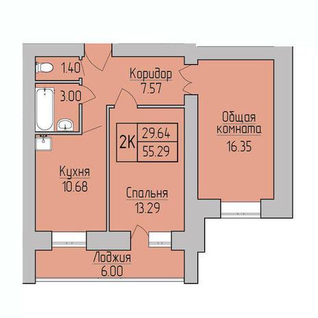 Вариант №3833, 2-комнатная квартира в жилом комплексе