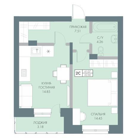 Вариант №4236, 2-комнатная квартира в жилом комплексе Традиции