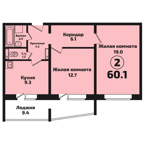 Вариант №4571, 2-комнатная квартира в жилом комплексе Акварельный 3.0