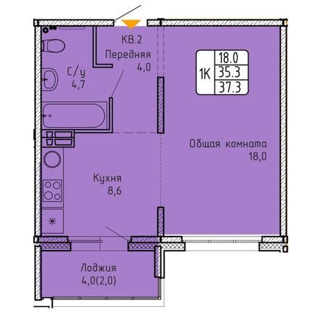 Вариант №5747, 1-комнатная квартира в жилом комплексе
