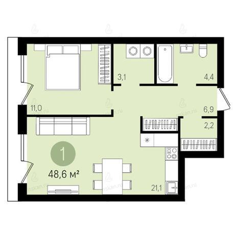 Вариант №2611, 2-комнатная квартира в жилом комплексе Квартал на Никитина