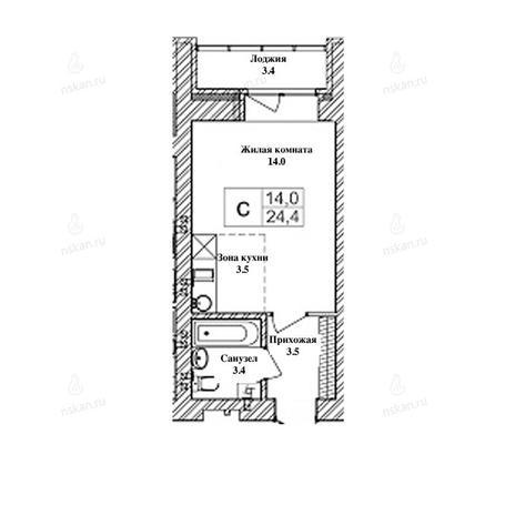 Вариант №2465, 1-комнатная квартира в жилом комплексе