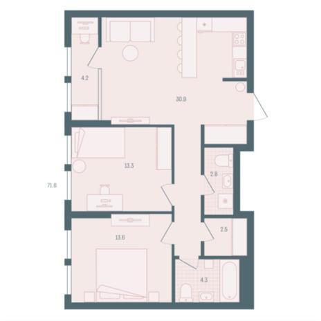 Вариант №5927, 2-комнатная квартира в жилом комплексе