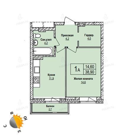 Вариант №1100, 1-комнатная квартира в жилом комплексе