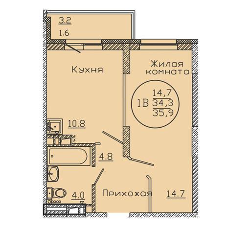 Вариант №3191, 1-комнатная квартира в жилом комплексе