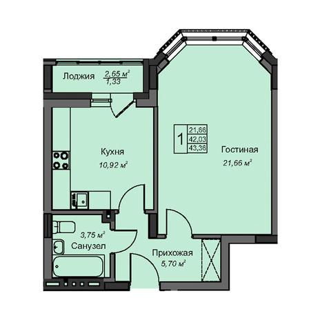 Вариант №3088, 1-комнатная квартира в жилом комплексе
