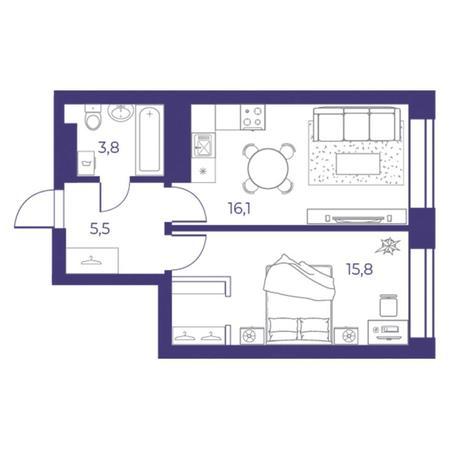 Вариант №5306, 2-комнатная квартира в жилом комплексе