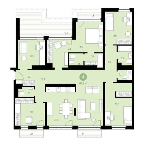 Вариант №4647, 6-комнатная квартира в жилом комплексе Европейский Берег