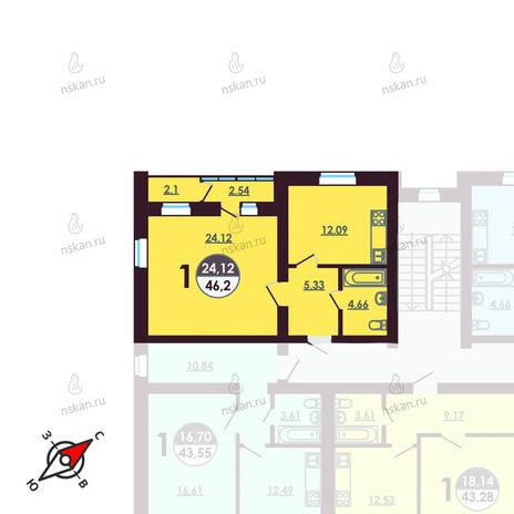 Вариант №407, 1-комнатная квартира в жилом комплексе Ключевой